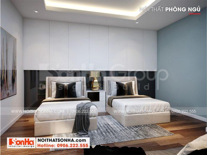 Trang trí phòng ngủ khách với 2 giường đơn đơn giản mà độc đáo