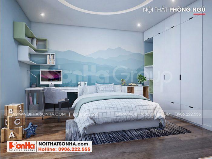 Căn phòng ngủ bé trai được lên ý tưởng bài trí ngăn nắp mang đến không gian nghỉ ngơi, học tập lý tưởng cho bé