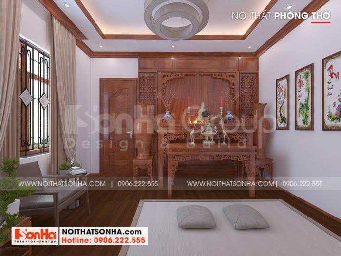 Mẫu nội thất phòng thờ đẹp và phong thủy cho nhà ống tân cổ điển tại Sài Gòn