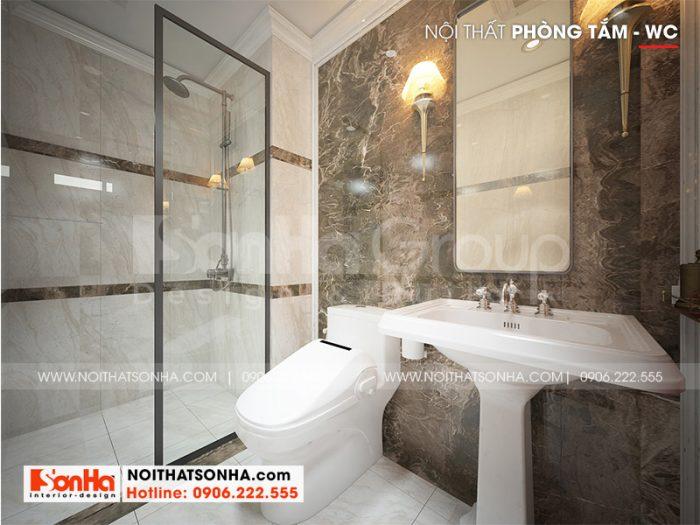 Thiết kế phòng tắm và vệ sinh với gam màu ấn tượng và nội thất cao cấp
