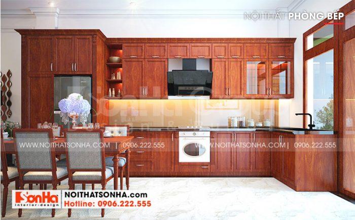 Không gian nội thất phòng bếp ăn của ngôi nhà phố mặt tiền 6m thiết kế mang hơi hướng tân cổ điển ấm cúng
