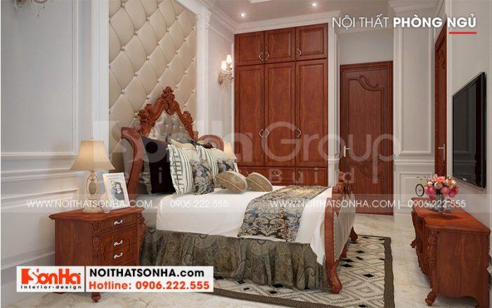 Hình ảnh không gian nội thất phòng ngủ tân cổ điển với đồ nội thất gỗ sang trọng