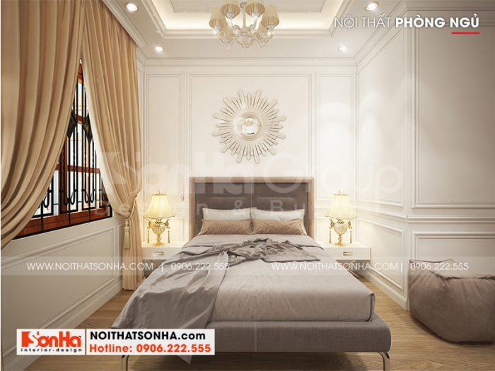 Phương án thiết kế nội thất phòng ngủ sang trọng cho nhà phố tân cổ điển