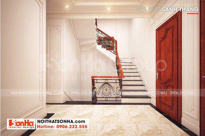 Hình ảnh thiết kế cầu thang ốp đá tay vịn gỗ cho nhà ống đẹp tại Hải Phòng