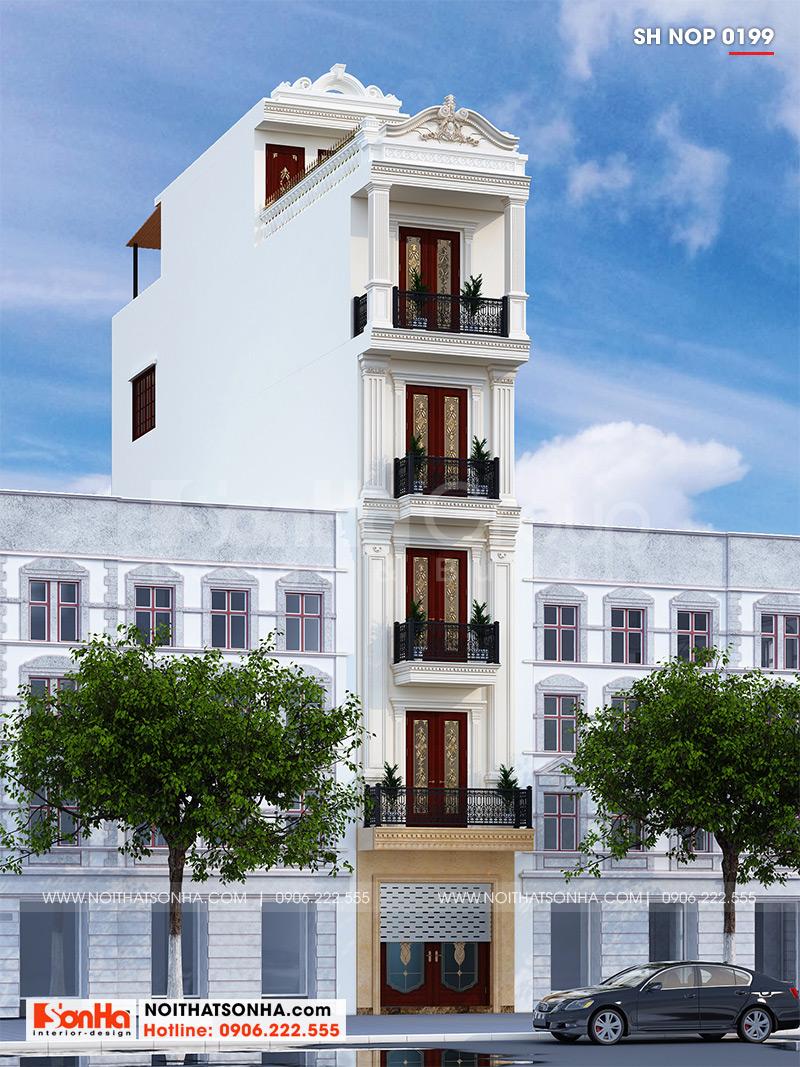 Cận cảnh mặt tiền 3m4 của nhà phố đẹp với hoa văn mềm mại, cột trụ vững chãi làm nên phong cách sống vương giả của chủ đầu tư