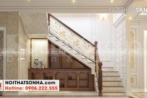 13 Thiết kế nội thất sảnh thang nhà ống tân cổ điển 3 phòng ngủ tại hà nội sh nop 0199