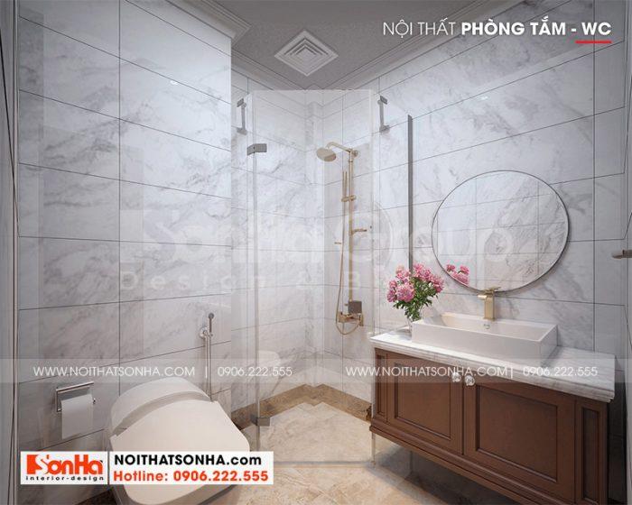 Thiết kế phòng tắm hiện đại và tiện nghi cho nhà ống 5 tầng tại Hà Nội