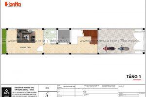 16 Mặt bằng tầng 1 nhà ống tân cổ điển 5 tầng tại hà nội sh nop 0199