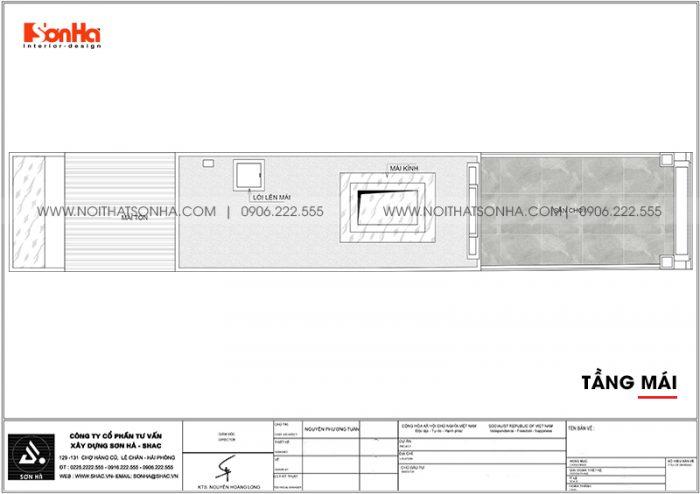 Bản vẽ công năng tầng mái nhà ống tân cổ điển có gara ôtô tại Hà Nội