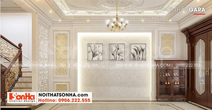 Thiết kế nội thất gara rộng rãi, thoáng đãng tại tầng 1 ngôi nhà phố tại Hà Nội