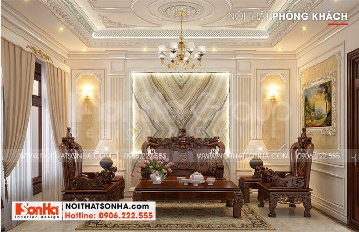 Không gian phòng khách mang phong cách tân cổ điển trang trọng và hoàn hảo với màu sắc tinh tế theo đúng nguyện vọng của gia chủ