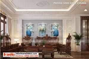 6 Nội thất phòng sinh hoạt chung nhà ống kiểu tân cổ điển mặt tiền 3,4m tại hà nội sh nop 0199