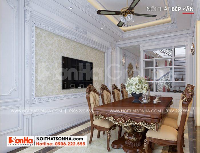Ý tưởng bài trí nội thất phòng ăn tân cổ điển sang trọng và ấm cúng cho nhà ống 5 tầng tại Hà Nội
