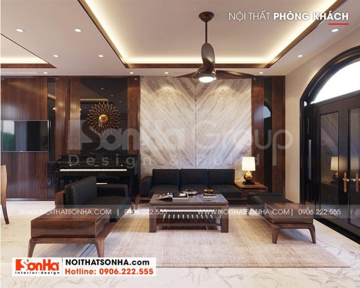 Không gian nội thất phòng khách tân cổ điển được thiết kế vô cùng tinh tế và sang trọng