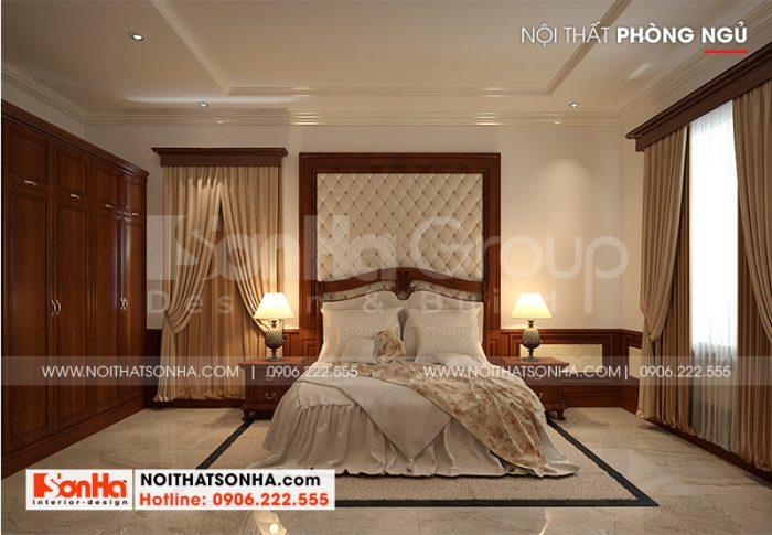 Không gian nội thất phòng ngủ biệt thự tân cổ điển Quảng Ninh với thiết kế vô cùng tinh tế