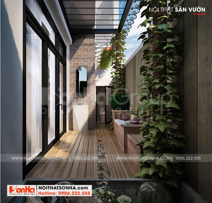 Thiết kế tiểu cảnh sân vườn nhỏ xinh dành cho biệt thự tân cổ điển