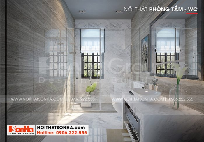 Thiết kế nội thất phòng tắm – wc biệt thự tân cổ điển xa hoa