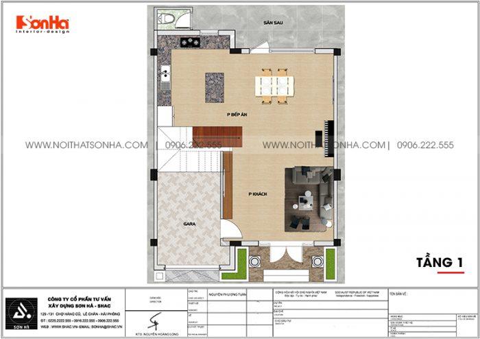 Chi tiết mặt bằng công năng tầng 1 biệt thự tân cổ điển 3 tầng diện tích 80,8m2 tại KĐT Vinhomes Imperia Hải Phòng