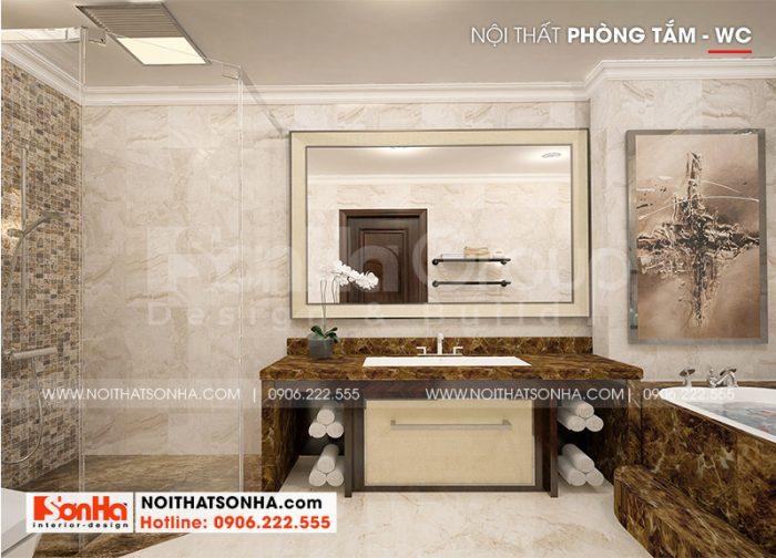 Cách bố trí nội thất phòng tắm, vệ sinh khép kín đơn giản, tiện nghi cho biệt thự tân cổ điển tại Quảng Ninh