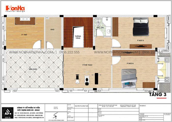Mặt bằng công năng tầng 3 biệt thự tân cổ điển mặt tiền 9m dài 19m tại Hải Phòng