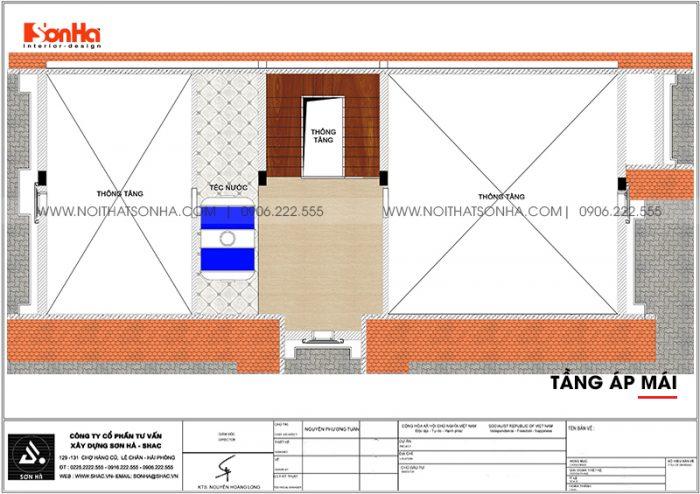 Mặt bằng công năng tầng áp mái biệt thự tân cổ điển mặt tiền 9m dài 19m tại Hải Phòng