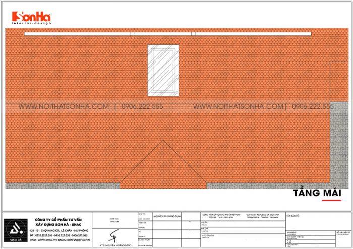 Mặt bằng công năng tầng mái biệt thự tân cổ điển mặt tiền 9m dài 19m tại Hải Phòng