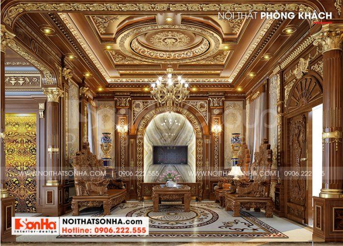 Không gian nội thất phòng khách biệt thự thiết kế mang đậm chất cổ điển châu Âu xa hoa và lộng lẫy để lại ấn tượng sâu sắc với các vị khách đến thăm nhà