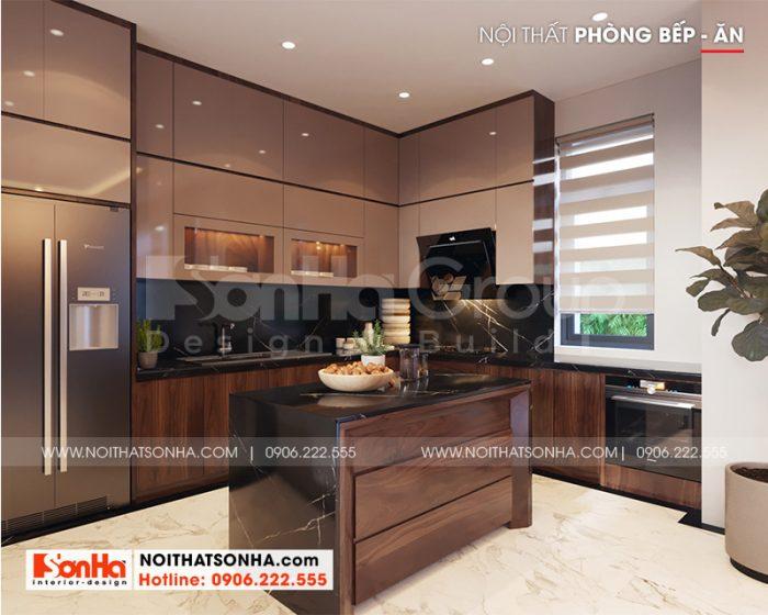 Mẫu thiết kế nội thất phòng bếp ăn với nội thất gỗ cao cấp, tiện dụng