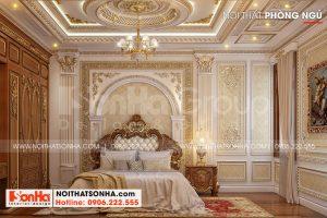 8 Thiết kế nội thất phòng ngủ tầng 1 biệt thự lâu đài 2 mặt tiền tại hà nội sh btld 0040