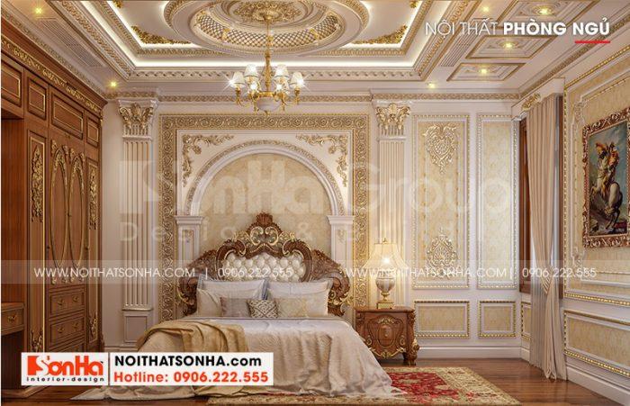 Mẫu thiết kế nội thất phòng ngủ xa hoa xứng tầm đẳng cấp biệt thự lâu đài cổ điển