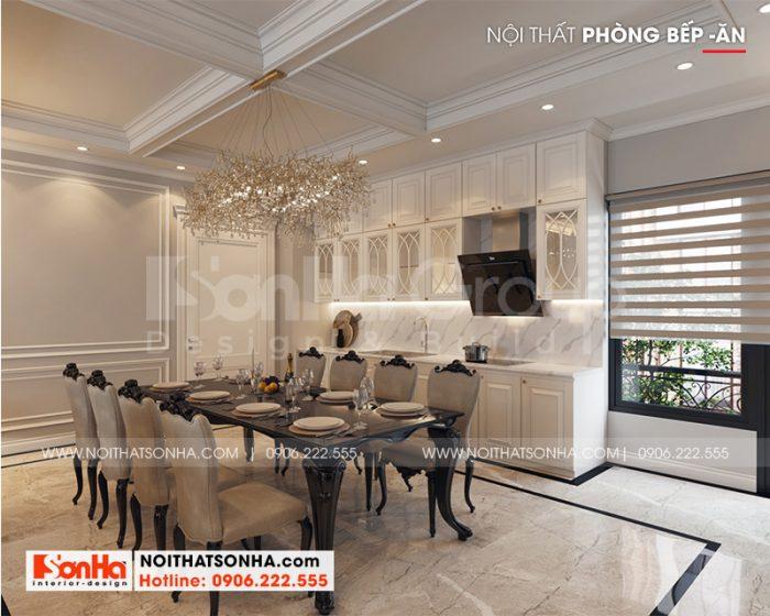 Thiết kế nội thất phòng bếp ăn rộng rãi, thoáng đãng cho nhà phố 6 tầng tại Hà Nội