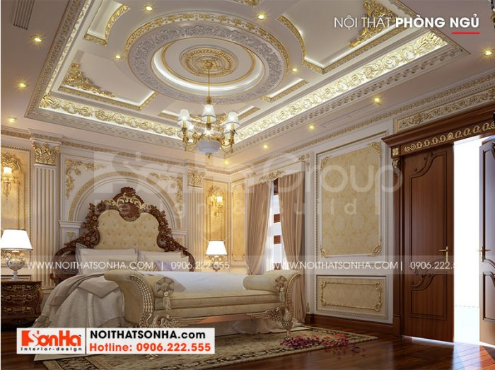 Không gian phòng ngủ ấm cúng, riêng tư với nội thất cổ điển sang trọng