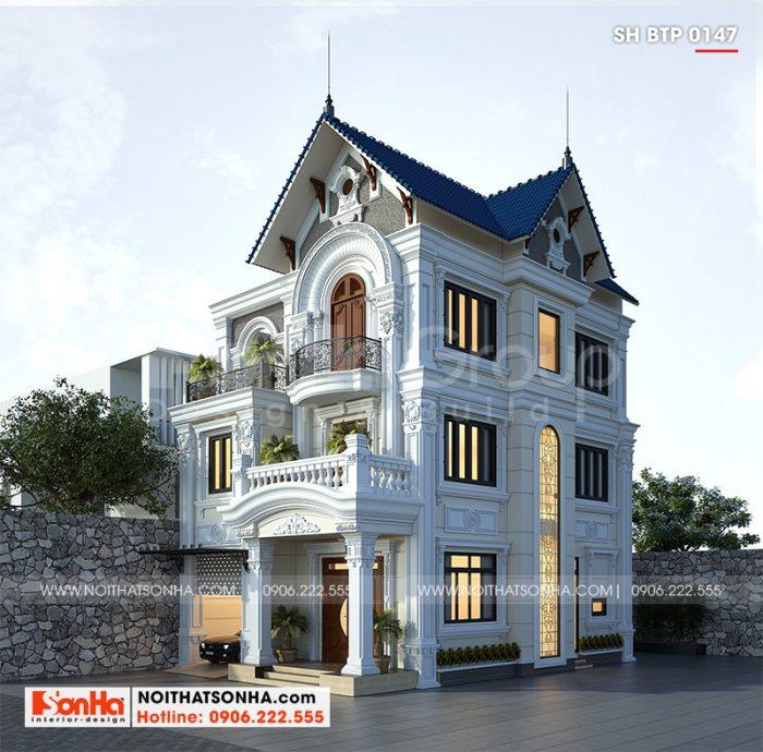 Ngoại thất biệt thự tân cổ điển được thiết kế với các đường nét tinh tế, mềm mại và sắc nét