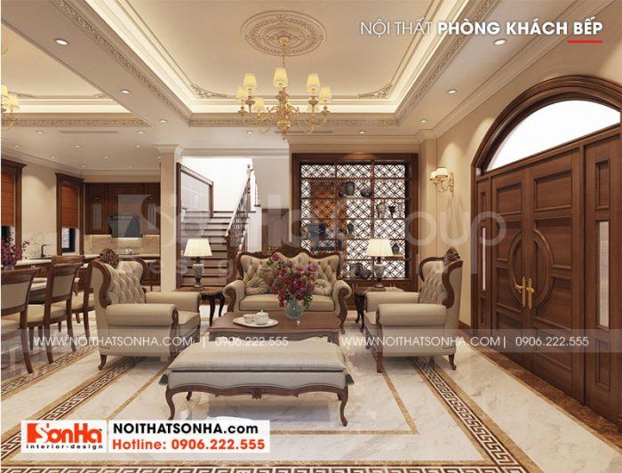 Thiết kế nội thất phòng khách phong cách tân cổ điển của biệt thự Vinhomes Imperia