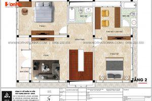 10 Bản vẽ tầng 2 biệt thự 3 tầng kiểu tân cổ điển tại ninh bình sh btp 0147