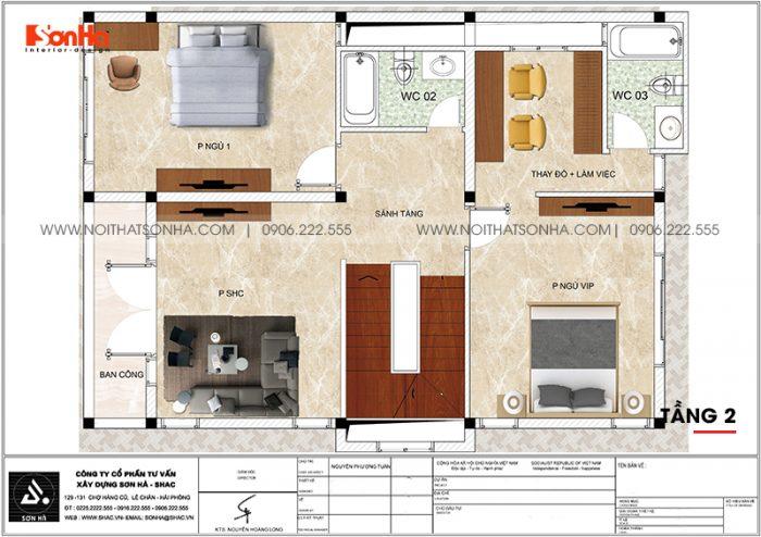 Phương án bố trí công năng tầng 2 biệt thự tân cổ điển mái thái 180m2 tại Ninh Bình