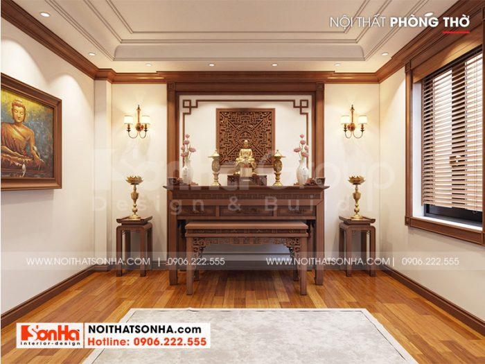 Phương án thiết kế nội thất phòng thờ trang nghiêm với đồ nội thất gỗ