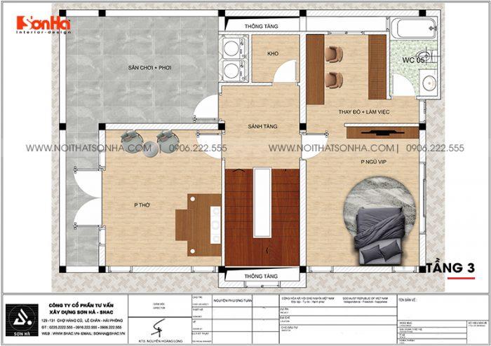 Phương án bố trí công năng tầng 3 biệt thự tân cổ điển mái thái 180m2 tại Ninh Bình