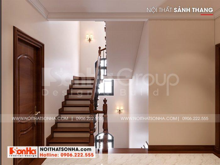 Phương án thiết kế sảnh thang biệt thự Vinhomes Imperia phong cách tân cổ điển