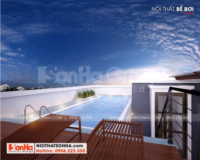 Thiết kế bể bơi xanh mát tại tầng mái ngôi biệt thự sang trọng bậc nhất Vinhomes Imperia Hải Phòng