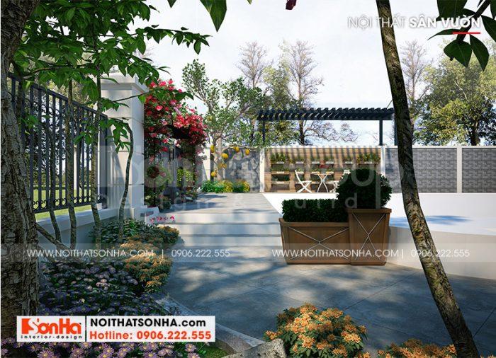 Bố trí sân vườn biệt thự đẹp theo đúng nguyện vọng của gia chủ