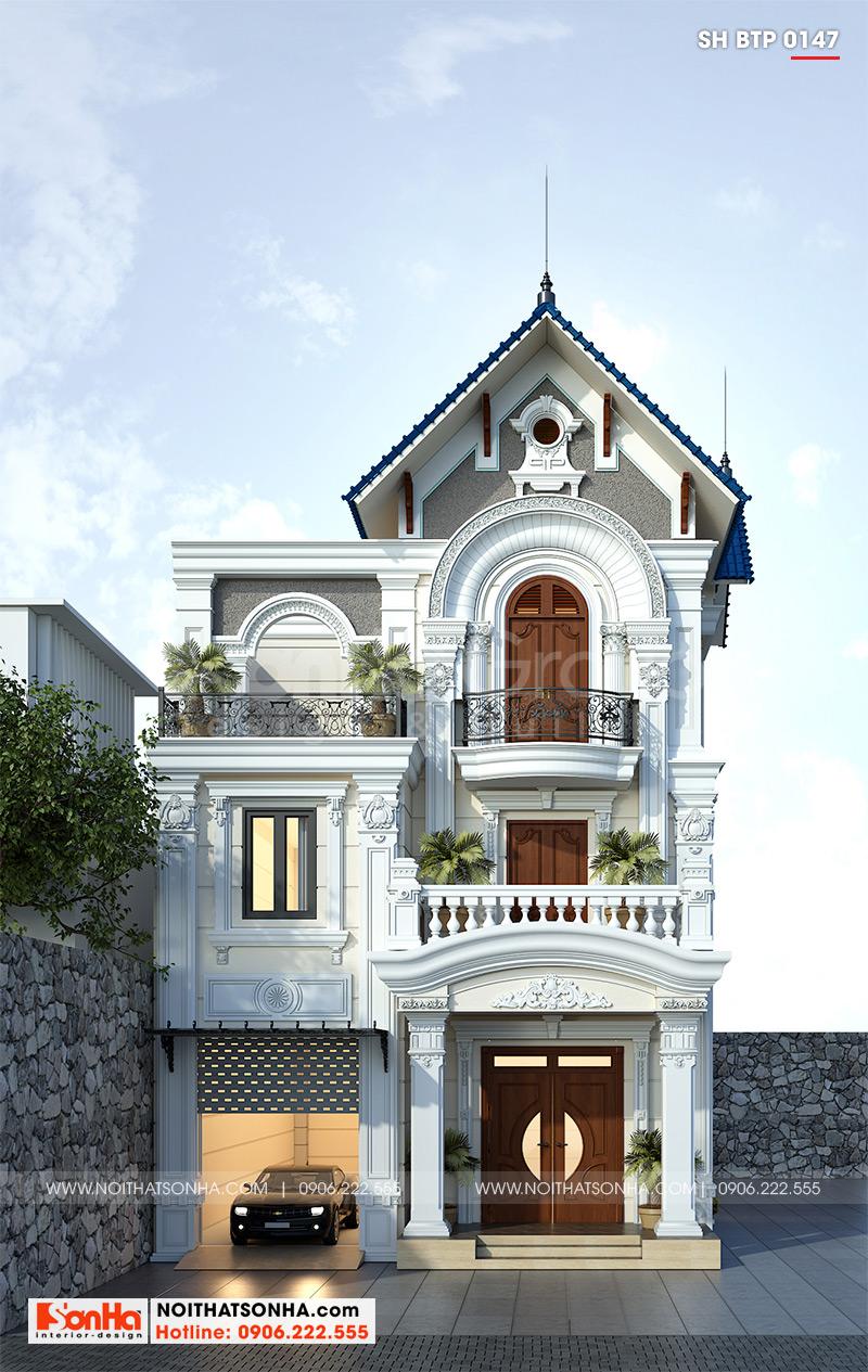 Cận cảnh kiến trúc mặt tiền mang vẻ đẹp tân cổ điển nhẹ nhàng và sang trọng cuốn hút mọi ánh nhìn