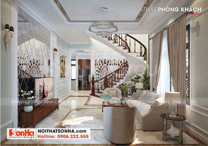 Bố trí phòng khách vương giả, cao cấp với bộ sofa màu sắc tinh tế theo xu hướng mới nhất hiện nay