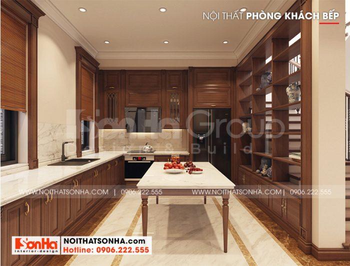 Thiết kế không gian phòng bếp được sử dụng chất liệu gỗ tự nhiên cao cấp