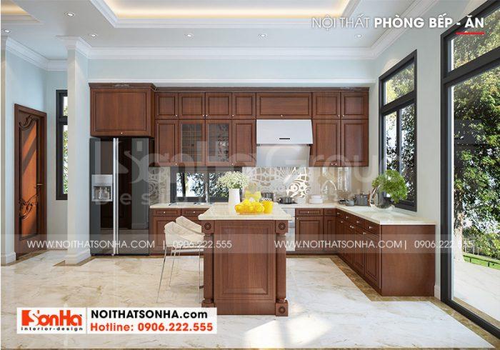 Mẫu phòng bếp biệt thự tân cổ điển có thiết kế nội thất gỗ sang trọng, bền đẹp