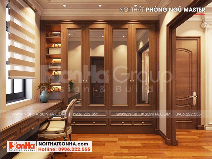 Khu thay đồ có thiết kế nội thất gỗ đẹp được bố trí khoa học trong căn phòng ngủ