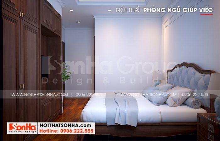 Còn đây là phương án thiết kế nội thất pòng ngủ giúp việc tại tầng 3 ngôi biệt thự