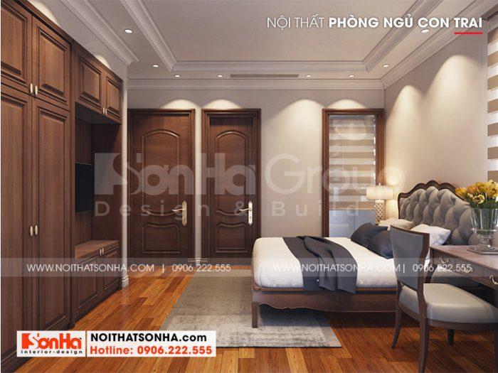 Phương án thiết kế phòng ngủ rất được yêu thích với nội thất gỗ tự nhiên dành cho con trai gia chủ