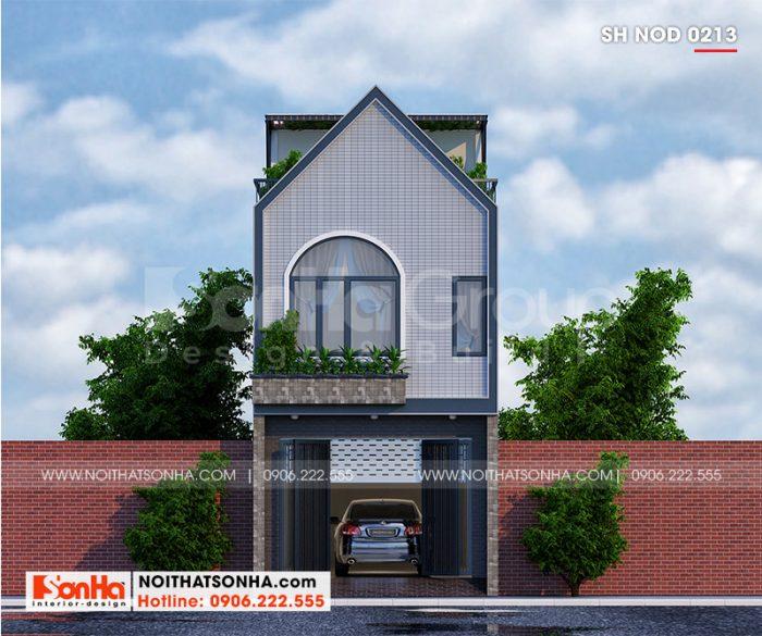 Kiến trúc ngôi nhà ống 3 tầng ưu tiên sử dụng những vật liệu hiện đại, màu sắc hợp thời thu hút mọi sự chú