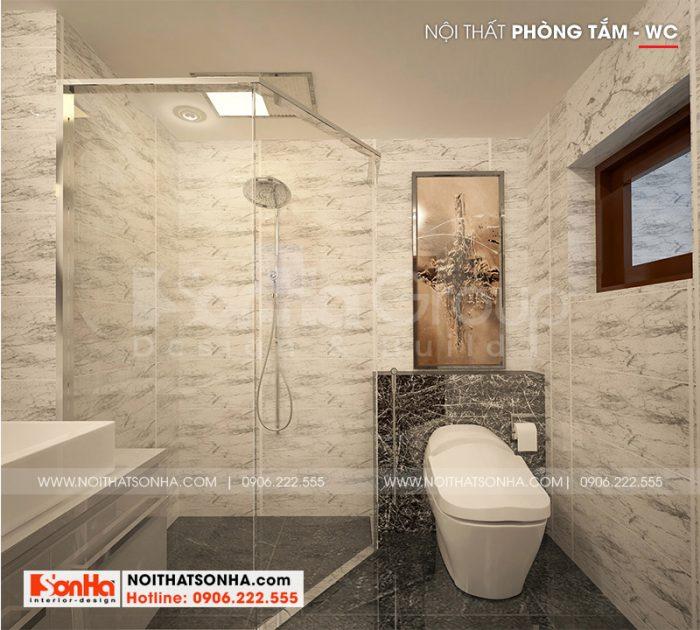 Thiết kế nội thất phòng tắm hiện đại đầy đủ tiện nghi cho nhà ống 3 tầng tại Hải Phòng